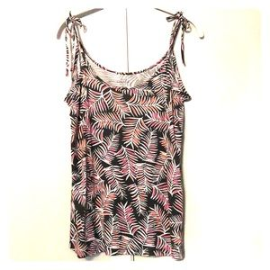 GAP Luxe tank top tie straps olive and pink leaves